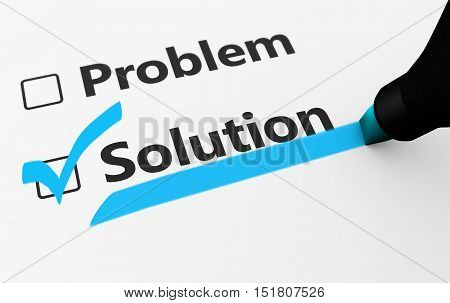 Problem solution sign on checklist business concept 3d illustration.