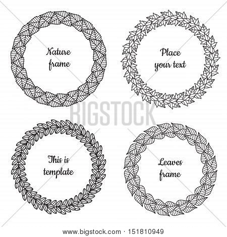 Circle nature frames (black) with leaves (birch viburnum ash lilac) vector set. Vintage style. Perfect for invitations and other design.