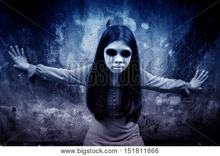 Ghost girl,Horror background for halloween concept and book cover ideas