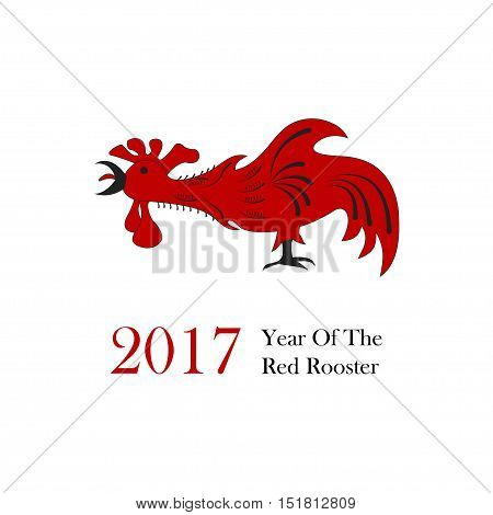 Vector illustration of rooster, symbol of 2017 on the Chinese calendar. Silhouette of red cock. Element for New Year's design.