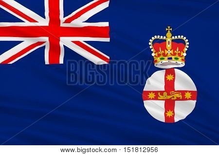 Flag of New South Wales (NSW) is a state on the east coast of Australia. 3d illustration