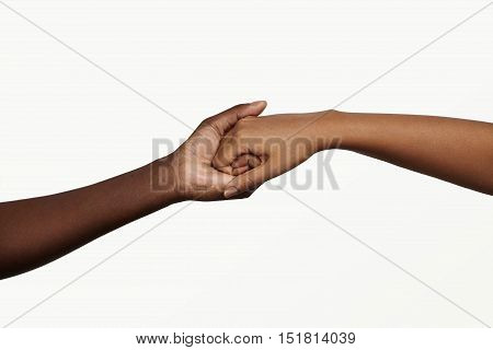 Two African People Holding Their Hands Tight Together. Friendship, Love, Trust And Support Concept B