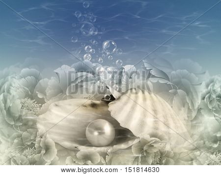 Abstract illustration background with shell pearl midnight blue sea water and bubbles