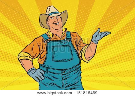 The American farmer in a cowboy hat, pop art retro vector illustration. A man in the pose of a promoter