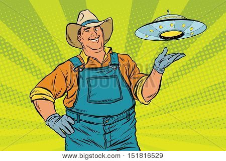 Rural farmer and UFO, pop art retro vector illustration. legends and myths