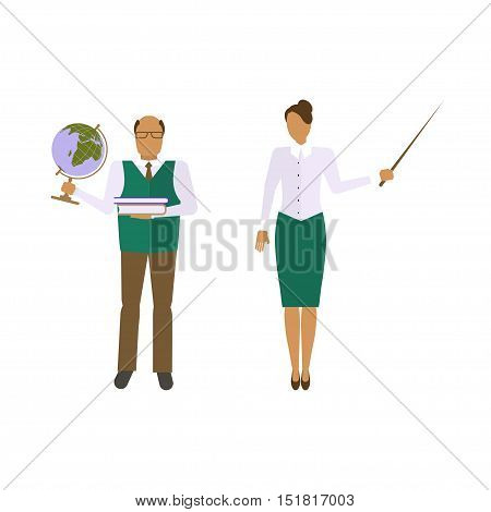 School male and female teacher in audience class. Education concept with teacher profession. Teacher school or university in flat style isolated on white background. Vector eps10 illustration.