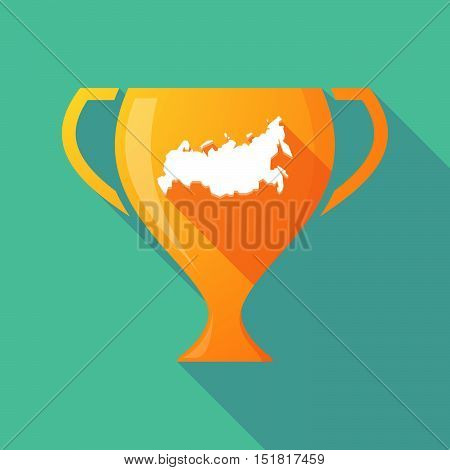 Long Shadow Gold Award Cup With  A Map Of Russia