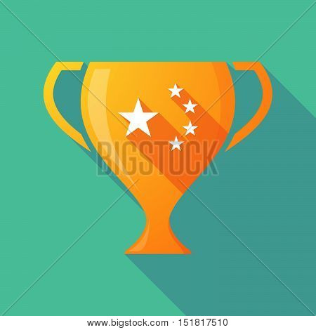 Long Shadow Gold Award Cup With  The Five Stars China Flag Symbol