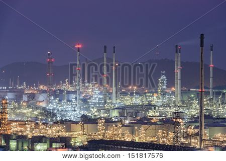 night view of the industrial area,industrial oil and gas.