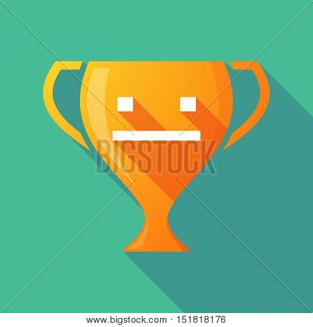 Long Shadow Gold Award Cup With A Emotionless Text Face