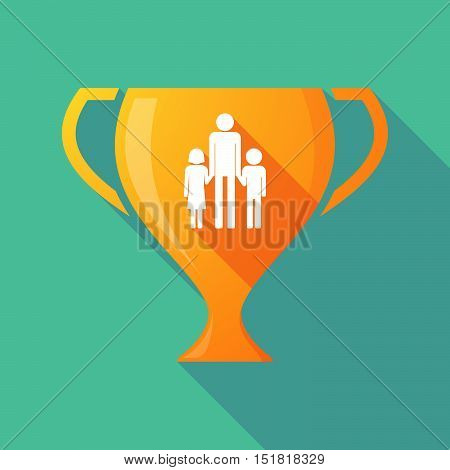 Long Shadow Gold Award Cup With A Male Single Parent Family Pictogram
