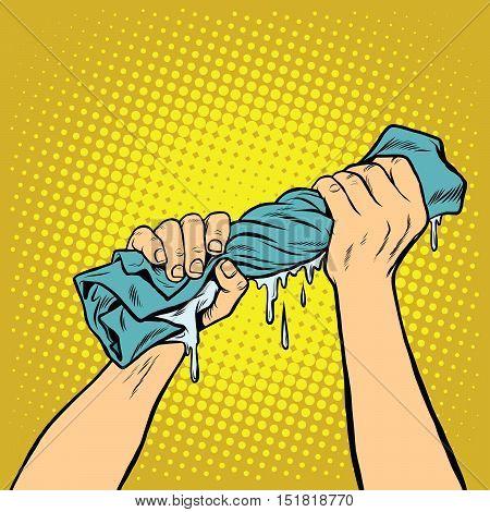retro hands squeezed the wash cloth, pop art vector illustration. Wet clothes, underwear