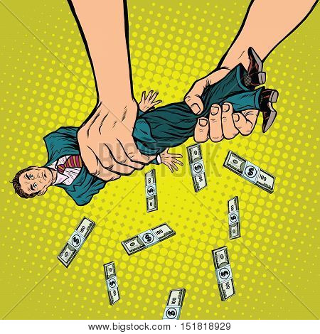 Female hands squeeze men money, pop art retro vector illustration. Financial exploitation of the business concept