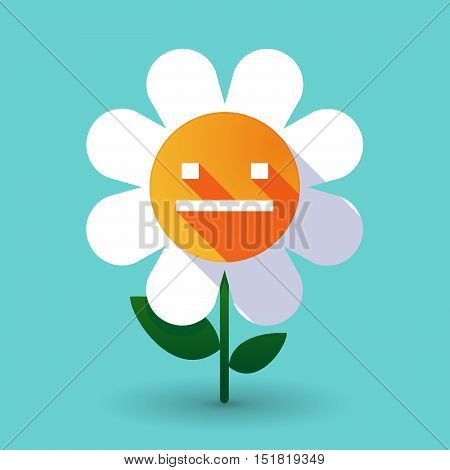 Long Shadow Daisy Flower With A Emotionless Text Face