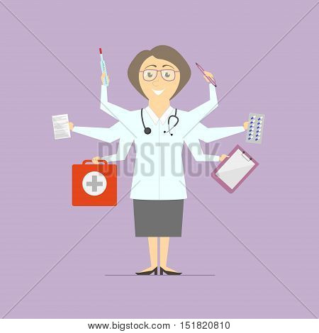 Flat design vector. Multitasking woman doctor. isolated