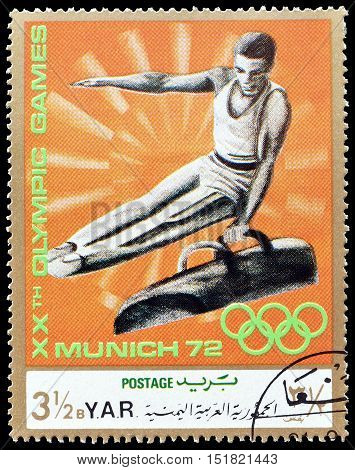 YEMEN - CIRCA 1971 : Cancelled postage stamp printed by Yemen, that shows Pommel horse.