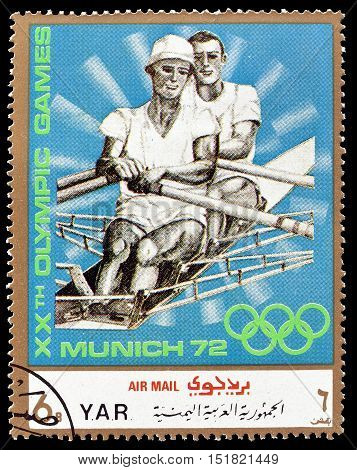YEMEN - CIRCA 1971 : Cancelled postage stamp printed by Yemen, that shows Rowing.