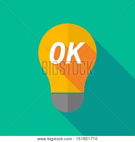Long Shadow Light Bulb Icon With    The Text Ok