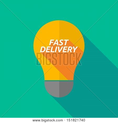 Long Shadow Light Bulb Icon With  The Text Fast Delivery