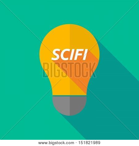 Long Shadow Light Bulb Icon With    The Text Scifi