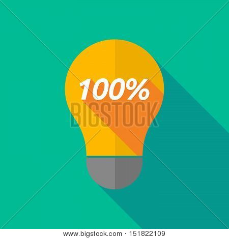 Long Shadow Light Bulb Icon With    The Text 100%