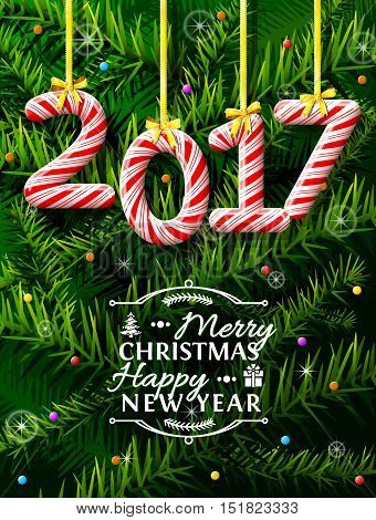 New Year 2017 in shape of candy stick against pine branches. Year number like holiday candies. Vector illustration for new years day christmas winter holiday sweet-stuff new years eve food etc