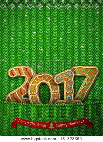 New Year 2017 in shape of gingerbreads in knitted pocket. Jumper fragment with year number like cookies. Vector illustration for new years day christmas cooking winter holiday food silvester etc