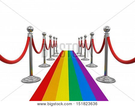 3D Illustration. Multi Colored Carpet and stanchions. Image with clipping path