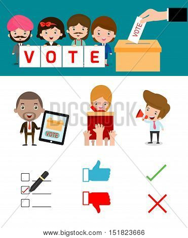 Elections with voting debates, Hand casting a vote,Voting concept in flat style,people voting at ballot box,vector,illustration.Election