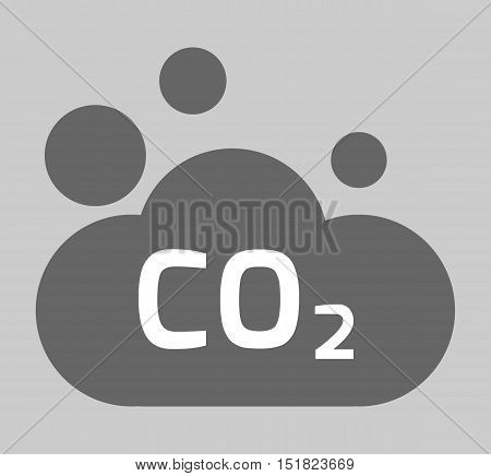 co2, carbon dioxide icon. environment concept. flat design illustration on background.