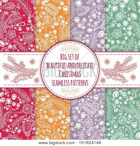 Set of seamless pattern in vintage, retro colors for the New Year and Christmas. A selection of patterns for packaging, postcards, background. Seamless New Year's background.