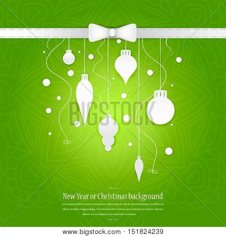 Celebratory bright background for Christmas and New Year. Greeting card. White Christmas decorations, toys on a green gradient background. Space for text. Christmas decorations, tinsel, snow falling.