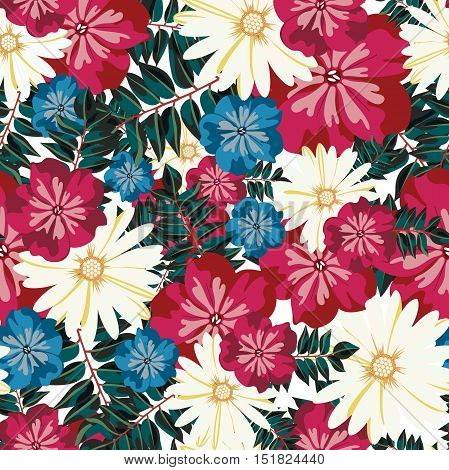 Beautiful floral pattern. Seamless pattern. Flowers. Bright buds, leaves, flowers. Flowers for greeting cards, posters, flyers. Flower shop. Seamless vintage tropical flower pattern vector.
