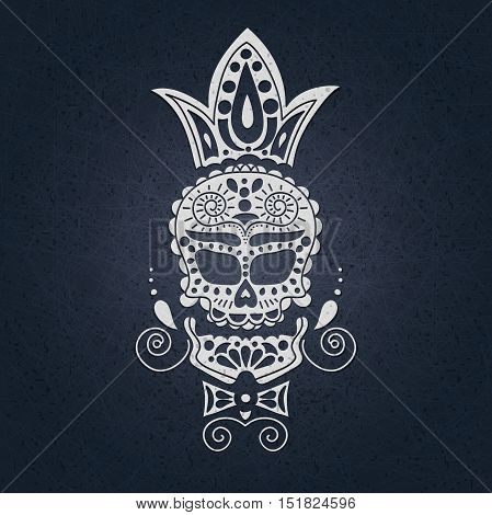 Vector decorative skull. Day of the Dead in Mexico. The skull on a on a light background for Halloween. Day of the dead sugar skull vector. Mexican skull. Traditional, religious Mexican holiday.