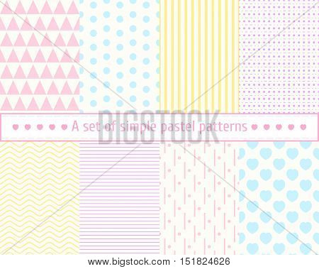 Set pastel seamless patterns. Gentle, simple, concise patterns, backgrounds, textures, wallpaper, posters, postcards, fabric. Seamless background. Pastel colors, pink, blue, yellow pattern.