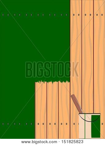 A fence made of softwood planks showing the wood grain and being painted green