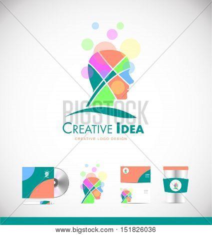 Creative idea man head concept vector logo icon sign design template corporate identity pastel colors