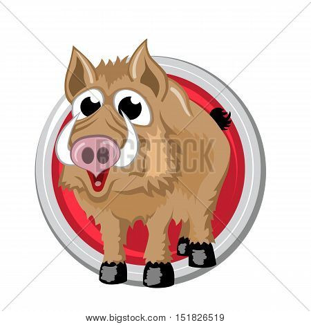 Boar. Orient horoscope sign isolated in circle. Chinese symbols. Zodiac.