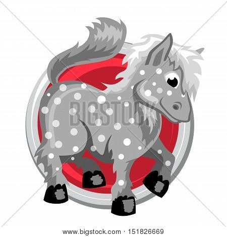 Horse. Orient horoscope sign isolated in circle. Chinese symbols. Zodiac.