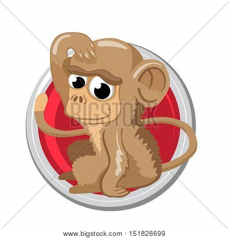 Monkey. Orient horoscope sign isolated in circle. Chinese symbols. Zodiac.