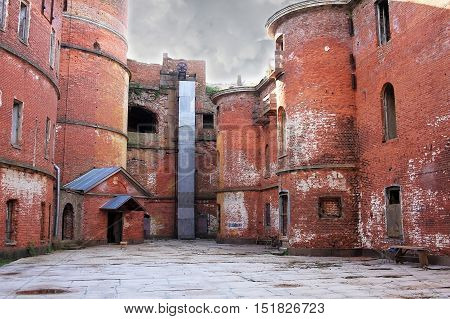 Kronstadt Russia - 10 July 2016: Courtyard of the naval fort Alexander I or Plague Fort. In 1899-1917 the fort housed a research laboratory on plague and other bacterial diseases.