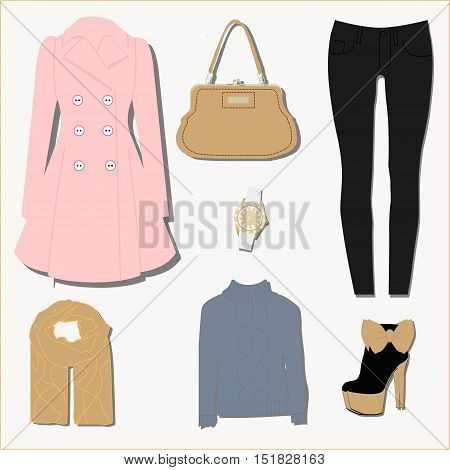 set of fashion women's autumn clothes. The pattern or icon for the store or overstock. Vector illustration