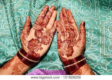 Hands Decorated with Mehandi on Indian Woman Hands