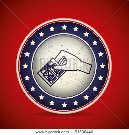 paper card inside button icon. Vote election and government theme. Isolated design. Vector illustration