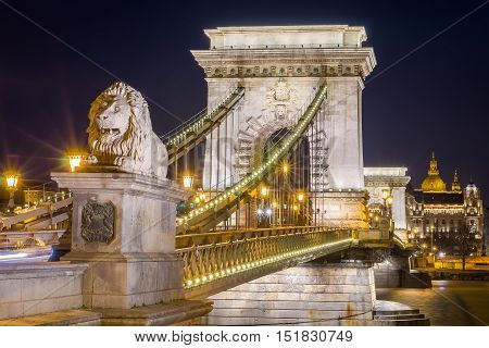 Night View Of The Szechenyi Chain Bridge. Budapest, Hungary.