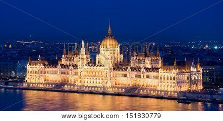 The Hungarian Parliament Building. Popular Landmark Of Budapest.