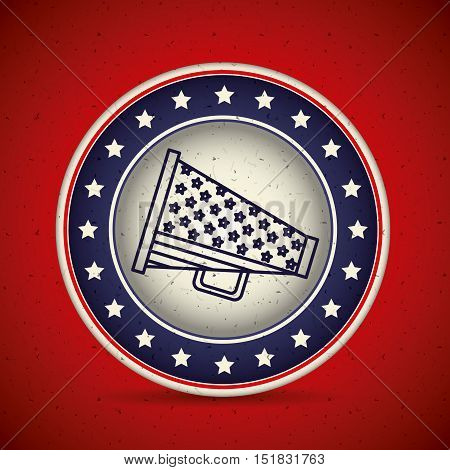 Megaphone inside button icon. Vote election and government theme. Isolated design. Vector illustration