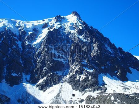 The highest vertical ascent cable car in the world, Aiguille du Midi, the Alps, France