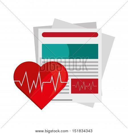 flat design medical history and  heart cardiogram icon vector illustration