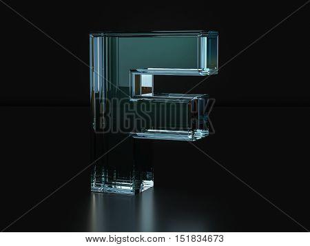 Glass Letter F 3D Illustration